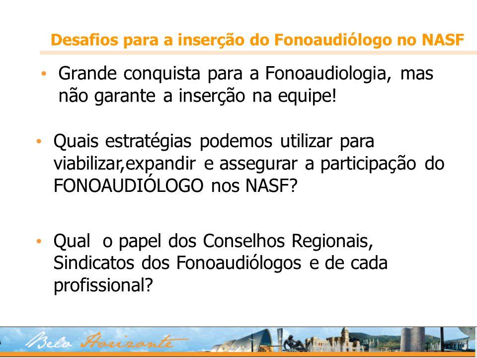 Desafios para a inserção do Fonoaudiólogo no NASF Grande conquista para a Fonoaudiologia, mas não garante a inserção na equipe! Quais estratégias pode