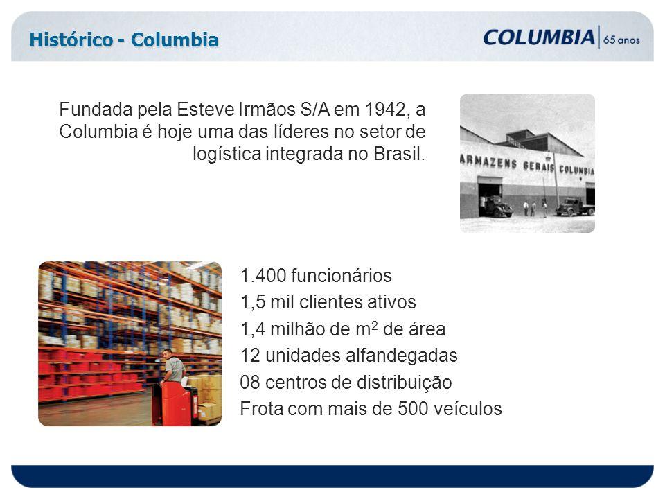 Histórico - Columbia Fundada pela Esteve Irmãos S/A em 1942, a Columbia é hoje uma das líderes no setor de logística integrada no Brasil. 1.400 funcio