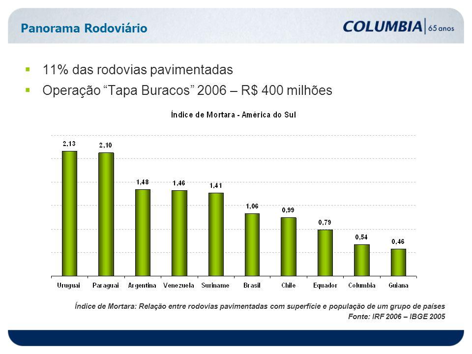 Panorama Rodoviário 11% das rodovias pavimentadas Operação Tapa Buracos 2006 – R$ 400 milhões Índice de Mortara: Relação entre rodovias pavimentadas com superfície e população de um grupo de países Fonte: IRF 2006 – IBGE 2005
