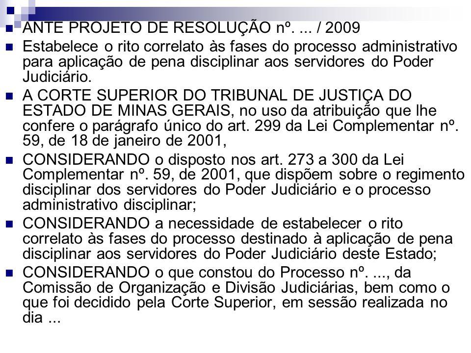 ANTE PROJETO DE RESOLUÇÃO nº.... / 2009 Estabelece o rito correlato às fases do processo administrativo para aplicação de pena disciplinar aos servido