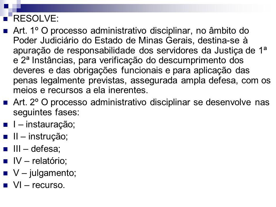RESOLVE: Art. 1º O processo administrativo disciplinar, no âmbito do Poder Judiciário do Estado de Minas Gerais, destina-se à apuração de responsabili