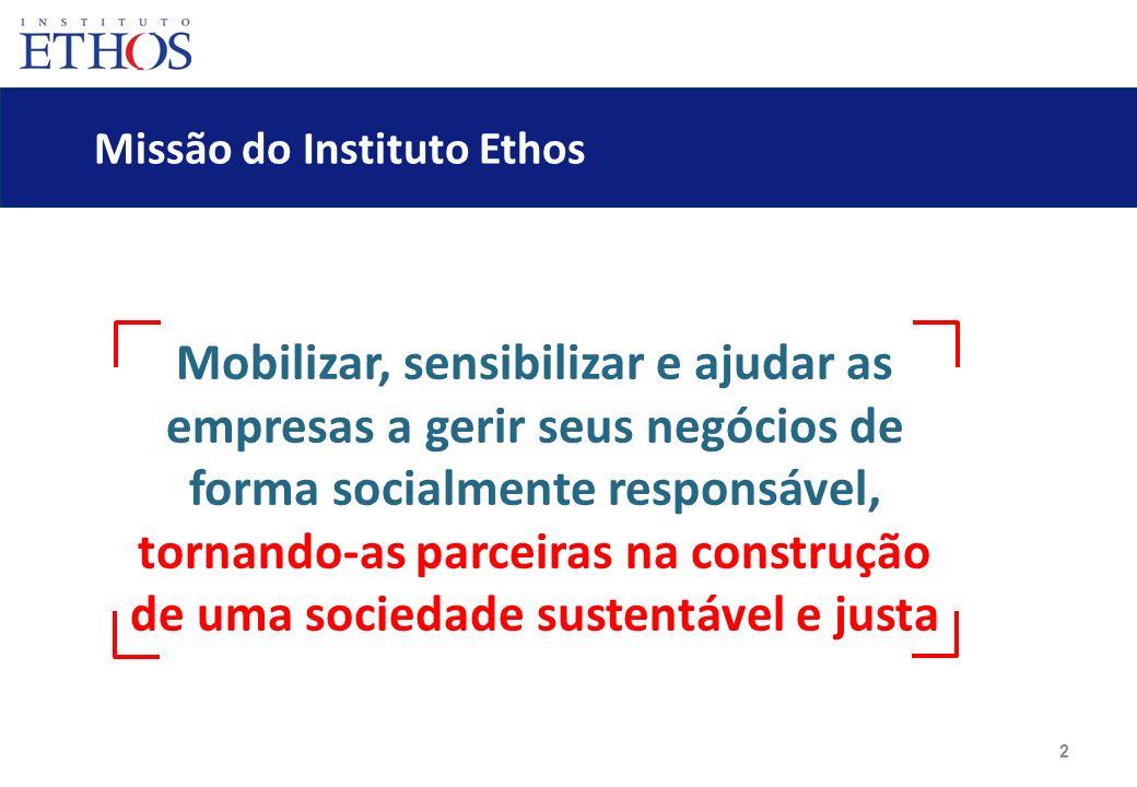 2 Missão do Instituto Ethos Mobilizar, sensibilizar e ajudar as empresas a gerir seus negócios de forma socialmente responsável, tornando-as parceiras