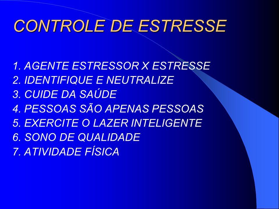 CONTROLE DE ESTRESSE 1. AGENTE ESTRESSOR X ESTRESSE 2. IDENTIFIQUE E NEUTRALIZE 3. CUIDE DA SAÚDE 4. PESSOAS SÃO APENAS PESSOAS 5. EXERCITE O LAZER IN