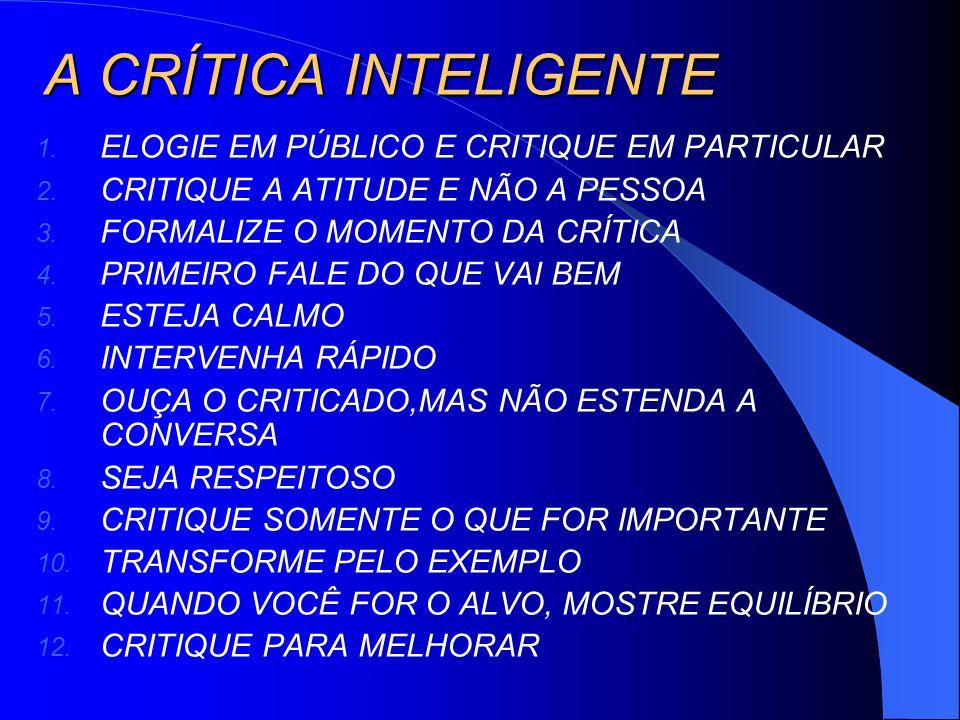 A CRÍTICA INTELIGENTE 1. ELOGIE EM PÚBLICO E CRITIQUE EM PARTICULAR 2. CRITIQUE A ATITUDE E NÃO A PESSOA 3. FORMALIZE O MOMENTO DA CRÍTICA 4. PRIMEIRO