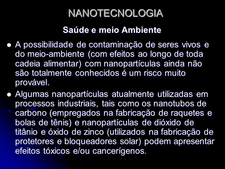 NANOTECNOLOGIA Saúde e meio Ambiente A possibilidade de contaminação de seres vivos e do meio-ambiente (com efeitos ao longo de toda cadeia alimentar)