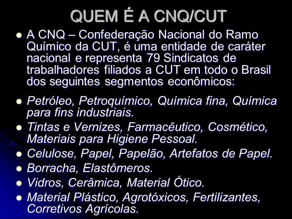 QUEM É A CNQ/CUT A CNQ – Confederação Nacional do Ramo Químico da CUT, é uma entidade de caráter nacional e representa 79 Sindicatos de trabalhadores