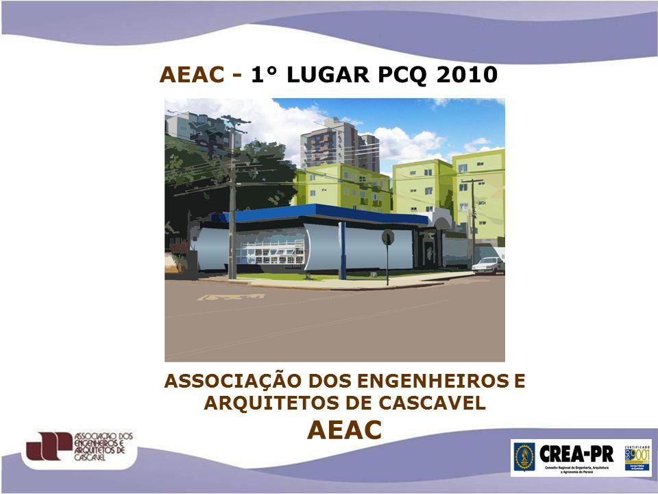HISTÓRICO DA AEAC Fundação: 05 de Abril de 1974 Associados: 390 Composição: 21 Diretores Presidente em exercicio do Crea-Pr 01 Conselheiro 05 Inspetores 12 Comissões Municipais 06 Conselhos Municipais Presidente: Suzely Soares Gestão - 2011/2012