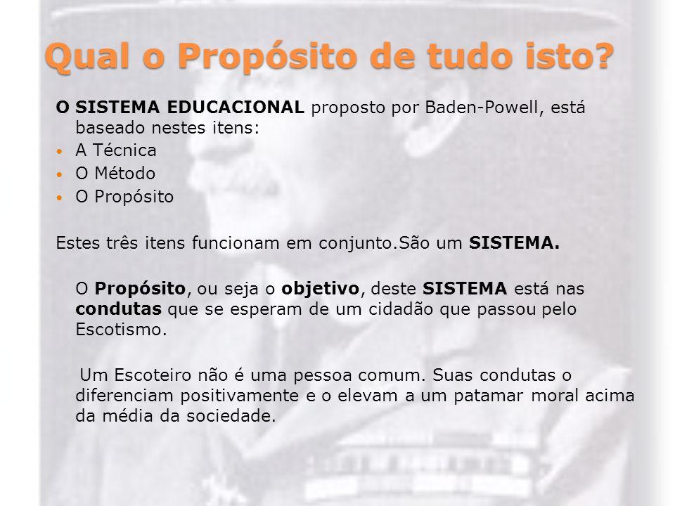 Qual o Propósito de tudo isto? O SISTEMA EDUCACIONAL proposto por Baden-Powell, está baseado nestes itens: A Técnica O Método O Propósito Estes três i