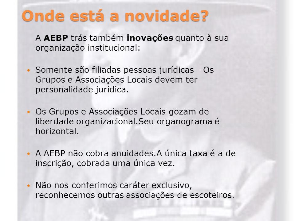 Onde está a novidade? A AEBP trás também inovações quanto à sua organização institucional: Somente são filiadas pessoas jurídicas - Os Grupos e Associ