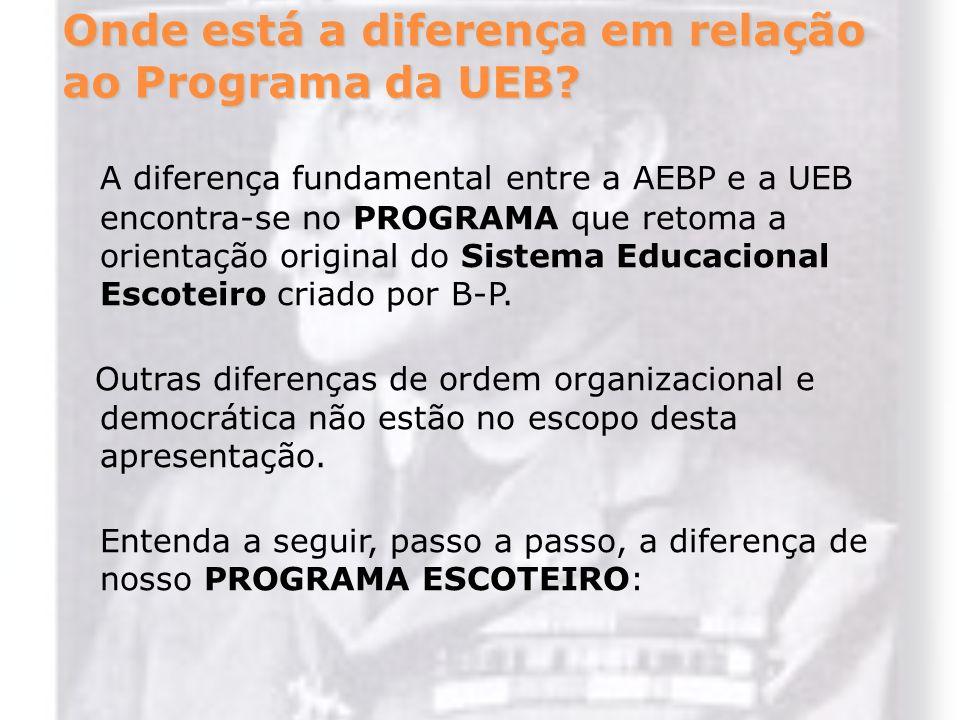 Onde está a diferença em relação ao Programa da UEB? A diferença fundamental entre a AEBP e a UEB encontra-se no PROGRAMA que retoma a orientação orig