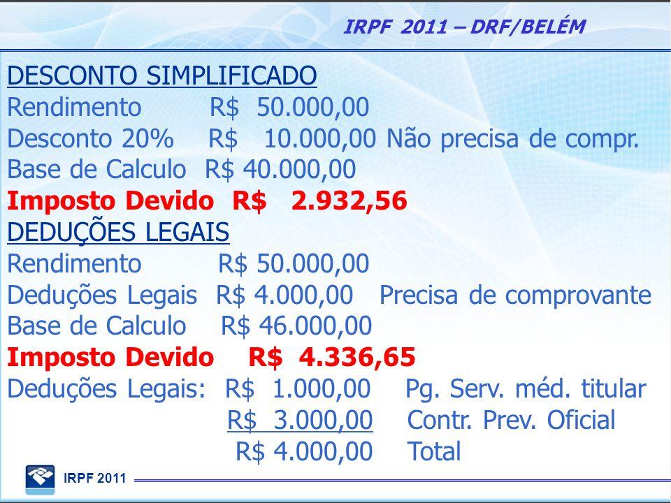 IRPF 2011 IRPF 2011 – DRF/BELÉM DESCONTO SIMPLIFICADO Rendimento R$ 50.000,00 Desconto 20% R$ 10.000,00 Não precisa de compr. Base de Calculo R$ 40.00