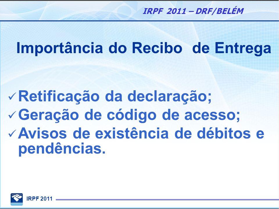 IRPF 2011 IRPF 2011 – DRF/BELÉM Importância do Recibo de Entrega Retificação da declaração; Geração de código de acesso; Avisos de existência de débit