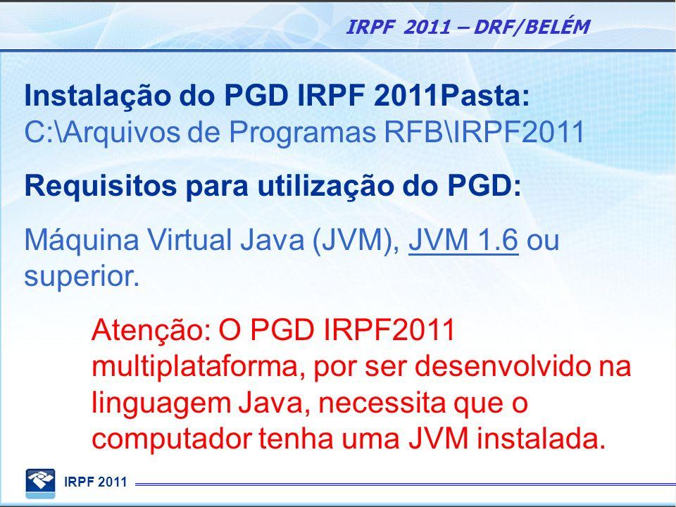 IRPF 2011 IRPF 2011 – DRF/BELÉM Instalação do PGD IRPF 2011Pasta: C:\Arquivos de Programas RFB\IRPF2011 Requisitos para utilização do PGD: Máquina Vir