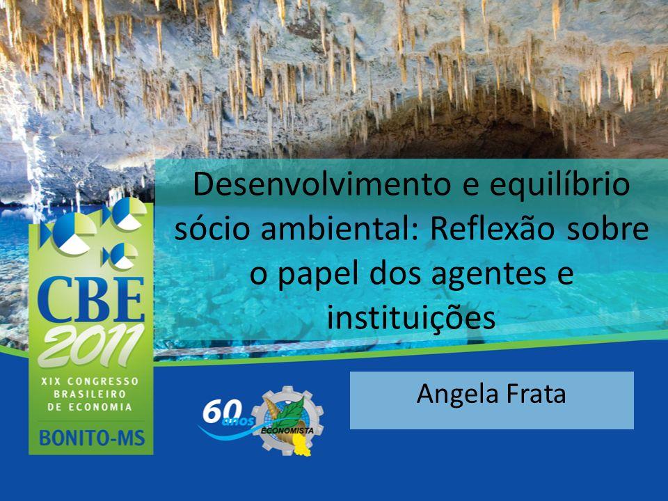 Desenvolvimento e equilíbrio sócio ambiental: Reflexão sobre o papel dos agentes e instituições Angela Frata