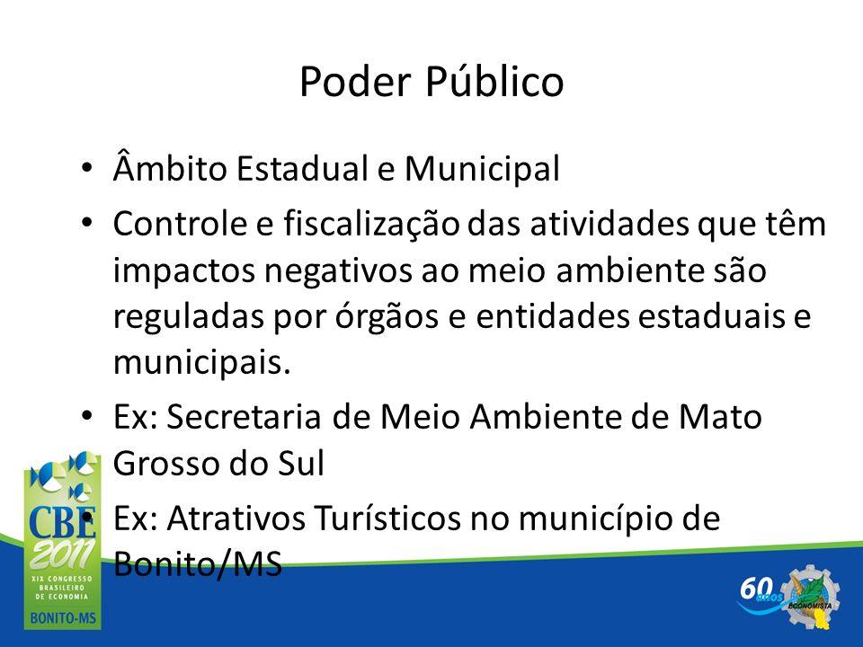 Âmbito Estadual e Municipal Controle e fiscalização das atividades que têm impactos negativos ao meio ambiente são reguladas por órgãos e entidades es