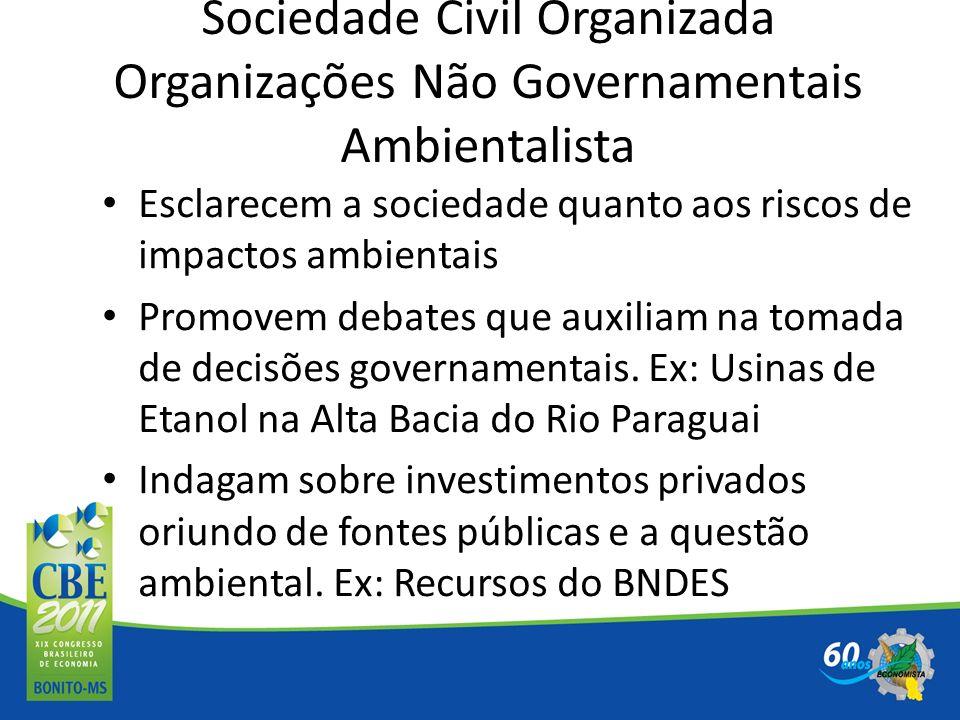 Sociedade Civil Organizada Organizações Não Governamentais Ambientalista Esclarecem a sociedade quanto aos riscos de impactos ambientais Promovem deba