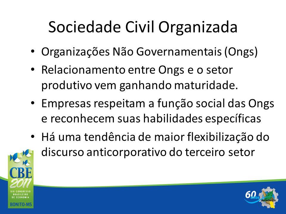 Sociedade Civil Organizada Organizações Não Governamentais (Ongs) Relacionamento entre Ongs e o setor produtivo vem ganhando maturidade. Empresas resp