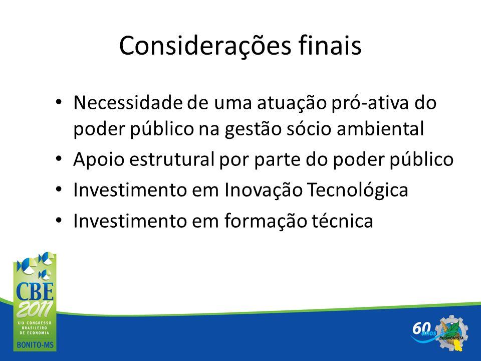 Considerações finais Necessidade de uma atuação pró-ativa do poder público na gestão sócio ambiental Apoio estrutural por parte do poder público Inves
