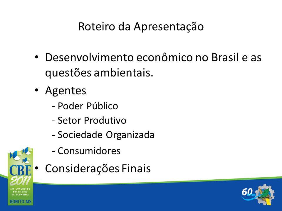 Roteiro da Apresentação Desenvolvimento econômico no Brasil e as questões ambientais. Agentes - Poder Público - Setor Produtivo - Sociedade Organizada