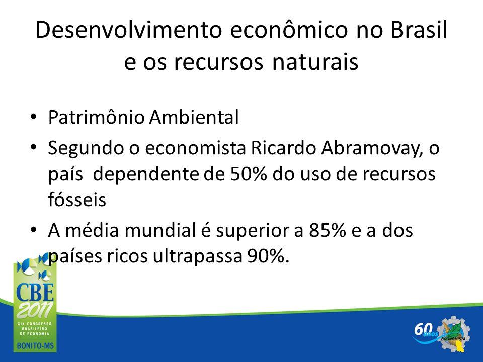 Desenvolvimento econômico no Brasil e os recursos naturais Patrimônio Ambiental Segundo o economista Ricardo Abramovay, o país dependente de 50% do us