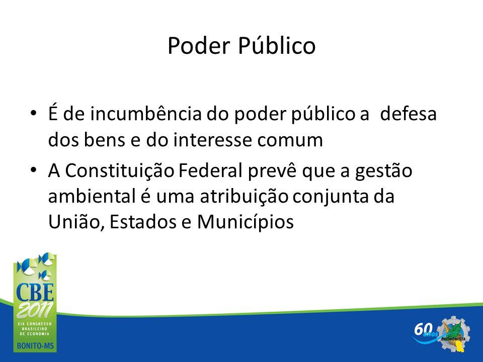 Poder Público É de incumbência do poder público a defesa dos bens e do interesse comum A Constituição Federal prevê que a gestão ambiental é uma atrib
