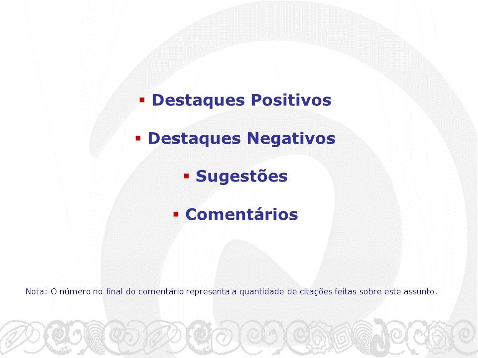Destaques Positivos Destaques Negativos Sugestões Comentários Nota: O número no final do comentário representa a quantidade de citações feitas sobre este assunto.