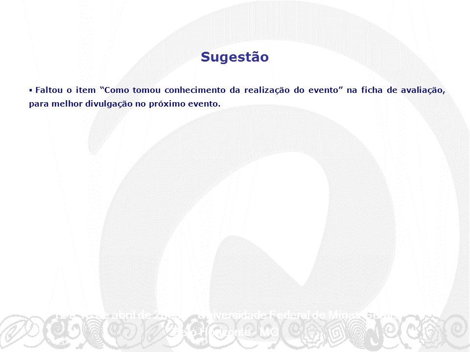 12 a 15 de abril de 2003 - Universidade Federal de Minas Gerais Belo Horizonte - MG Faltou o item Como tomou conhecimento da realização do evento na ficha de avaliação, para melhor divulgação no próximo evento.