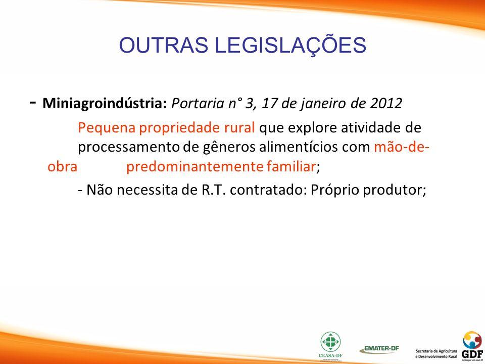 OUTRAS LEGISLAÇÕES - Miniagroindústria: Portaria n° 3, 17 de janeiro de 2012 Pequena propriedade rural que explore atividade de processamento de gêner