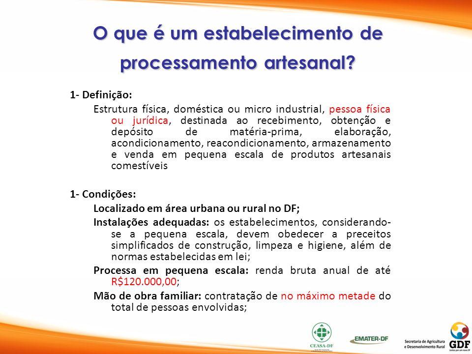 O que é um estabelecimento de processamento artesanal? 1- Definição: Estrutura física, doméstica ou micro industrial, pessoa física ou jurídica, desti