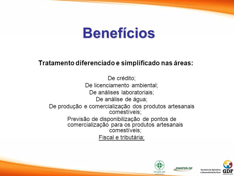 Benefícios Tratamento diferenciado e simplificado nas áreas: De crédito; De licenciamento ambiental; De análises laboratoriais; De análise de água; De