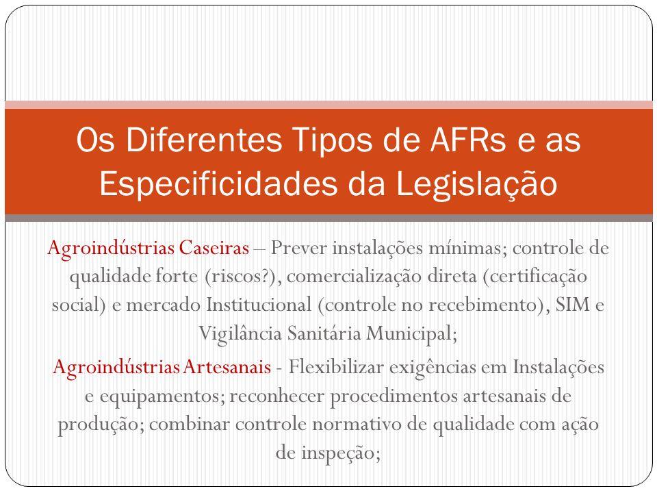 Agroindústrias Caseiras – Prever instalações mínimas; controle de qualidade forte (riscos?), comercialização direta (certificação social) e mercado In