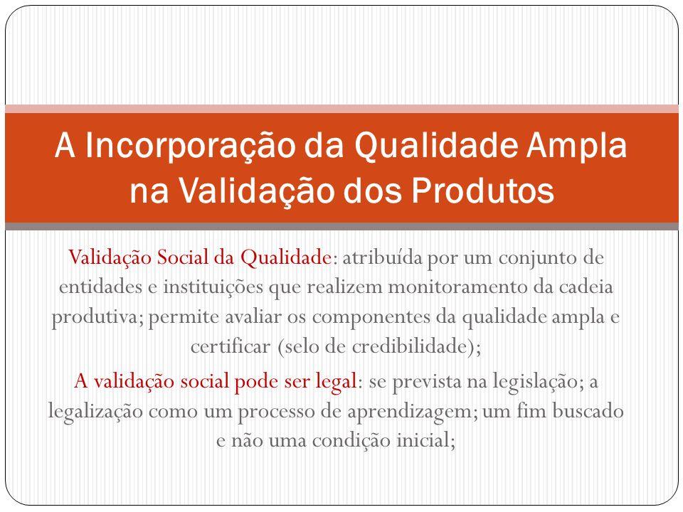 Validação Social da Qualidade: atribuída por um conjunto de entidades e instituições que realizem monitoramento da cadeia produtiva; permite avaliar o