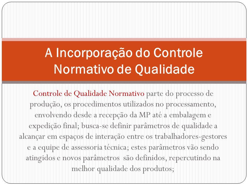 Controle de Qualidade Normativo parte do processo de produção, os procedimentos utilizados no processamento, envolvendo desde a recepção da MP até a e