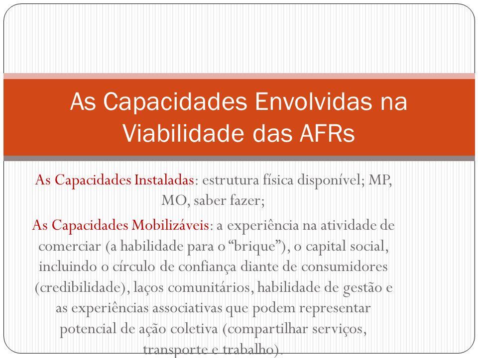 As Capacidades Instaladas: estrutura física disponível; MP, MO, saber fazer; As Capacidades Mobilizáveis: a experiência na atividade de comerciar (a h