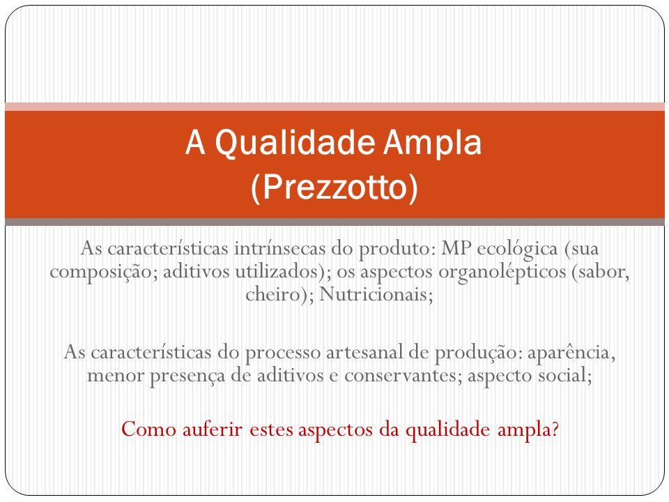 As características intrínsecas do produto: MP ecológica (sua composição; aditivos utilizados); os aspectos organolépticos (sabor, cheiro); Nutricionai
