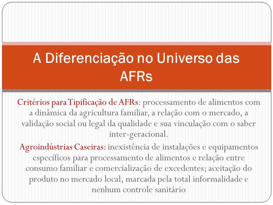 Critérios para Tipificação de AFRs: processamento de alimentos com a dinâmica da agricultura familiar, a relação com o mercado, a validação social ou