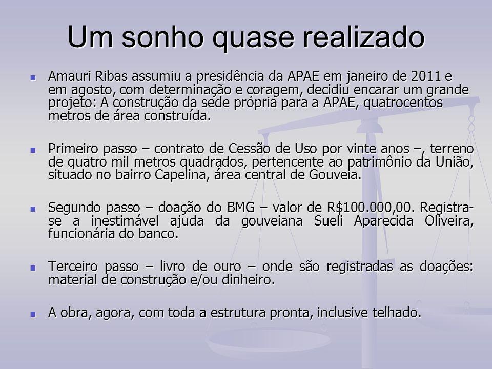 Um sonho quase realizado Amauri Ribas assumiu a presidência da APAE em janeiro de 2011 e em agosto, com determinação e coragem, decidiu encarar um gra