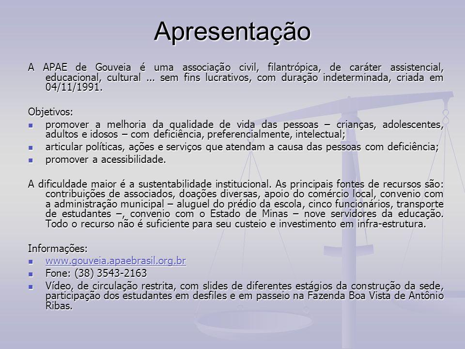 Créditos: Fotos e Textos Raimundo Nonato de Miranda Chaves e material dos arquivos da APAE de Gouveia