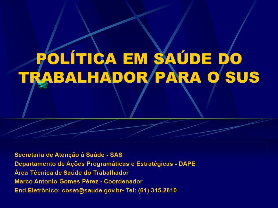 POLÍTICA EM SAÚDE DO TRABALHADOR PARA O SUS Secretaria de Atenção à Saúde - SAS Departamento de Ações Programáticas e Estratégicas - DAPE Área Técnica