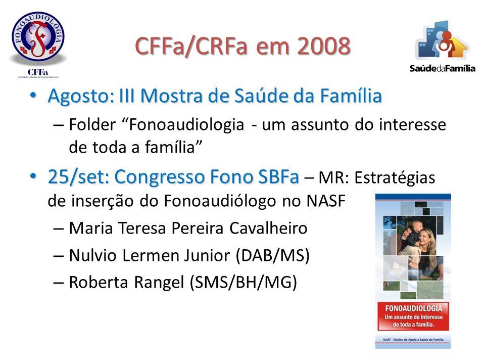 CFFa/CRFa em 2008 Agosto: III Mostra de Saúde da Família Agosto: III Mostra de Saúde da Família – Folder Fonoaudiologia - um assunto do interesse de t
