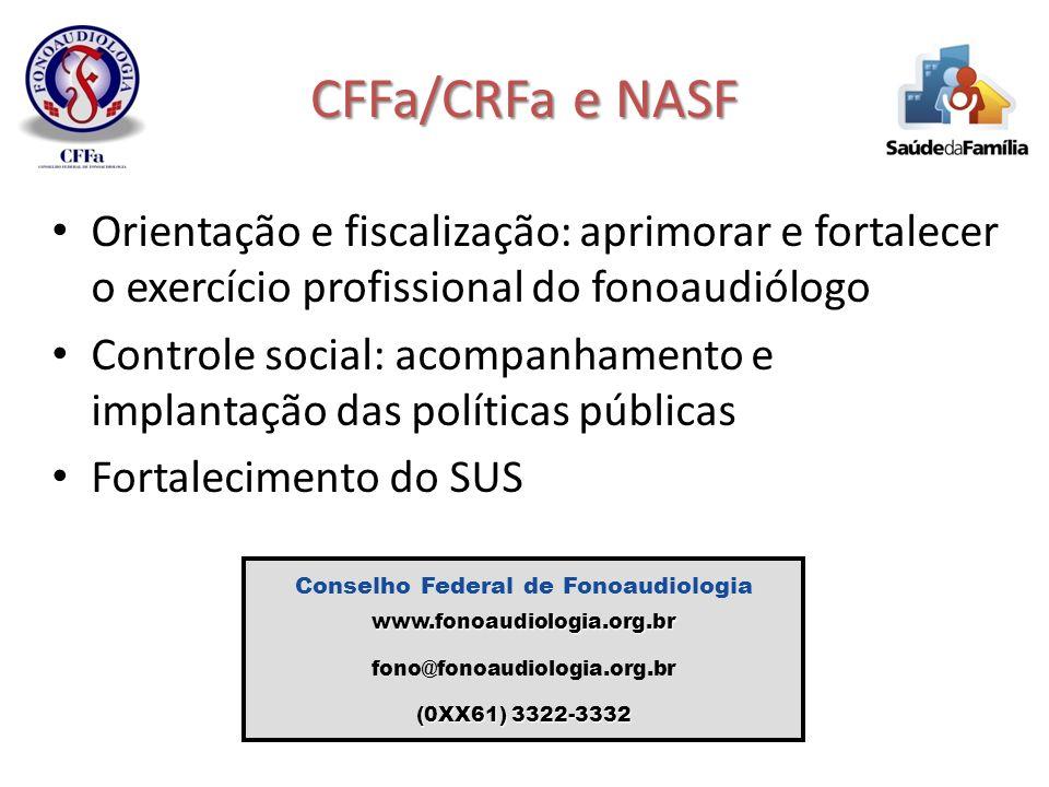 CFFa/CRFa e NASF Orientação e fiscalização: aprimorar e fortalecer o exercício profissional do fonoaudiólogo Controle social: acompanhamento e implant