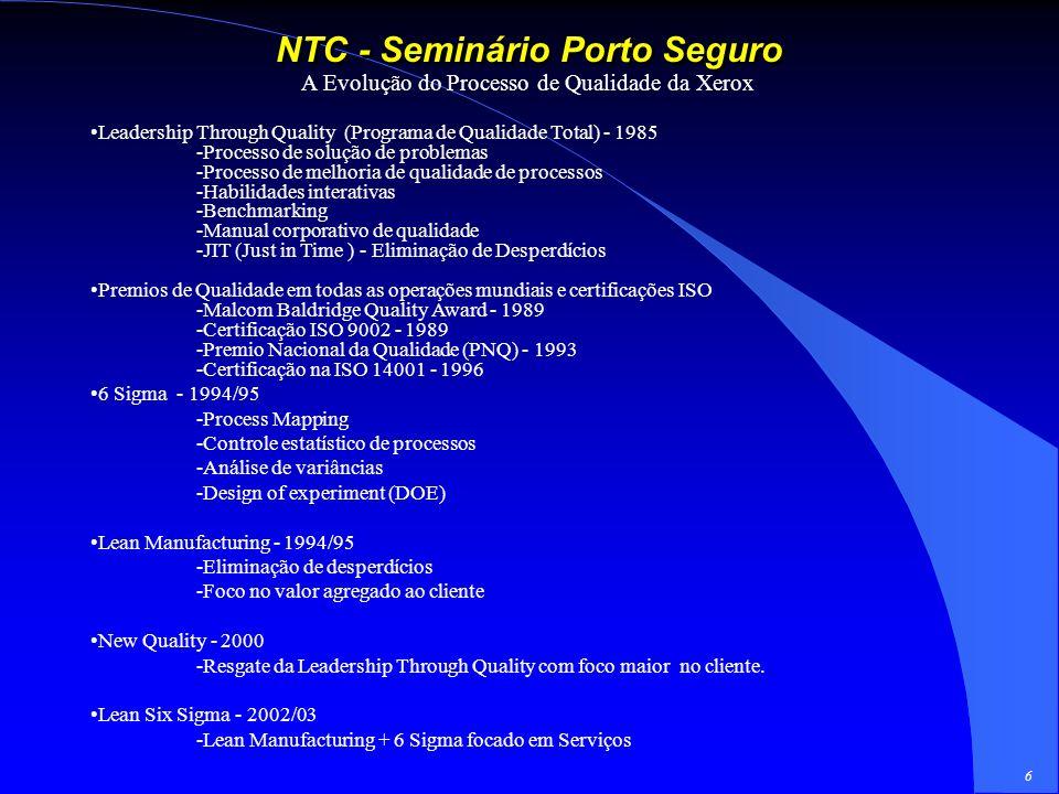 6 NTC - Seminário Porto Seguro A Evolução do Processo de Qualidade da Xerox Leadership Through Quality (Programa de Qualidade Total) - 1985 -Processo de solução de problemas -Processo de melhoria de qualidade de processos -Habilidades interativas -Benchmarking -Manual corporativo de qualidade -JIT (Just in Time ) - Eliminação de Desperdícios Premios de Qualidade em todas as operações mundiais e certificações ISO -Malcom Baldridge Quality Award - 1989 -Certificação ISO 9002 - 1989 -Premio Nacional da Qualidade (PNQ) - 1993 -Certificação na ISO 14001 - 1996 6 Sigma - 1994/95 -Process Mapping -Controle estatístico de processos -Análise de variâncias -Design of experiment (DOE) Lean Manufacturing - 1994/95 -Eliminação de desperdícios -Foco no valor agregado ao cliente New Quality - 2000 -Resgate da Leadership Through Quality com foco maior no cliente.