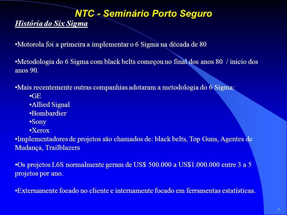 7 NTC - Seminário Porto Seguro História do Six Sigma Motorola foi a primeira a implementar o 6 Sigma na década de 80 Metodologia do 6 Sigma com black belts começou no final dos anos 80 / inicio dos anos 90.