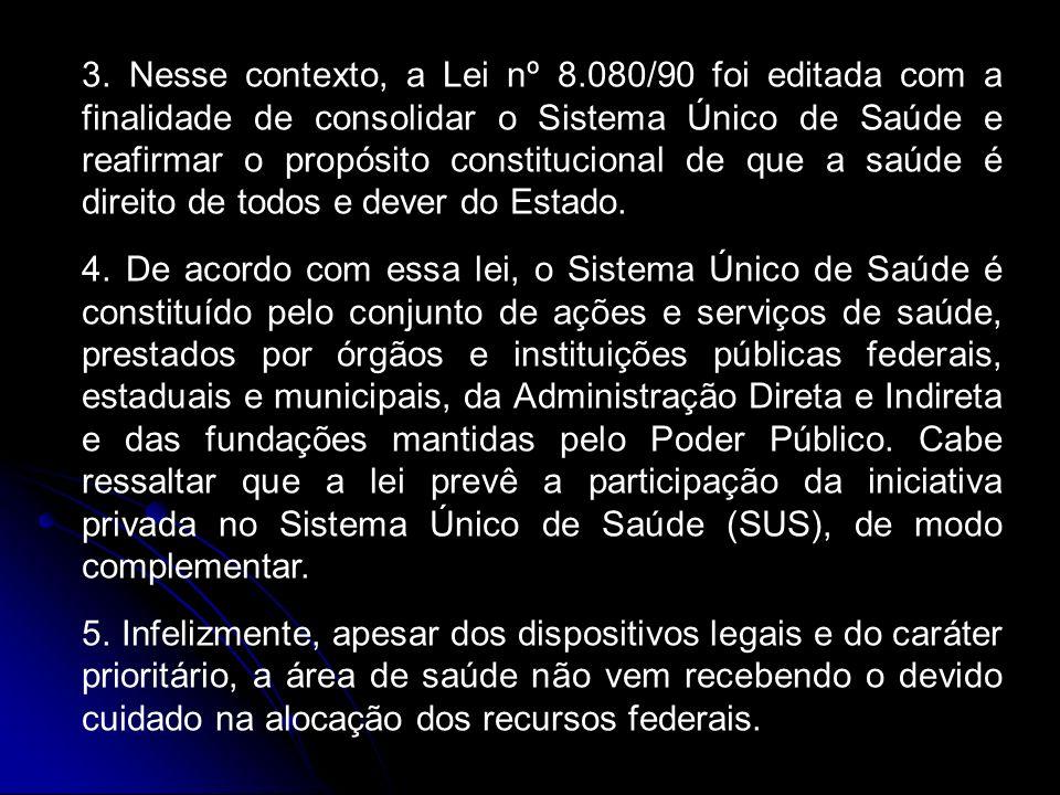 3. Nesse contexto, a Lei nº 8.080/90 foi editada com a finalidade de consolidar o Sistema Único de Saúde e reafirmar o propósito constitucional de que