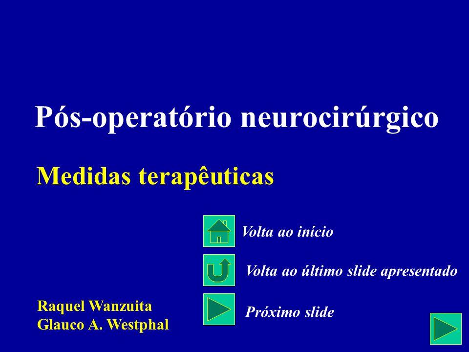 Medidas terapêuticas Pós-operatório neurocirúrgico Raquel Wanzuita Glauco A. Westphal Volta ao início Volta ao último slide apresentado Próximo slide