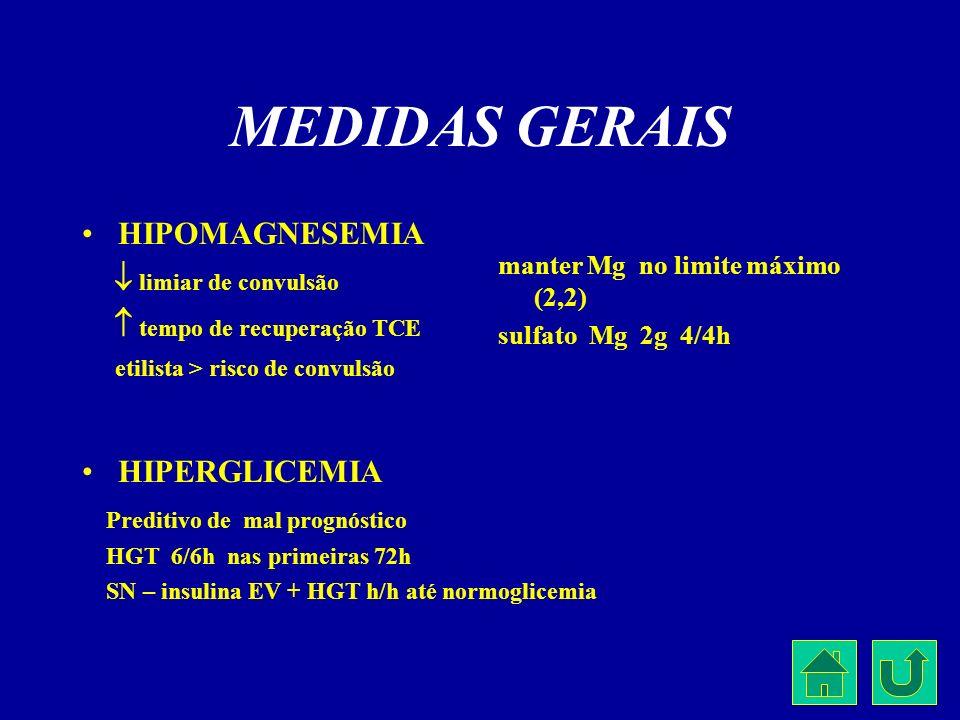MEDIDAS GERAIS HIPOMAGNESEMIA limiar de convulsão tempo de recuperação TCE etilista > risco de convulsão HIPERGLICEMIA Preditivo de mal prognóstico HG