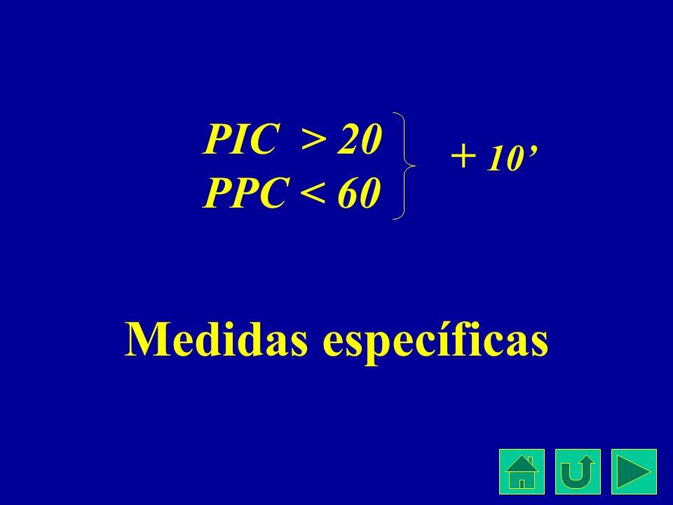 Medidas específicas PIC > 20 PPC < 60 + 10