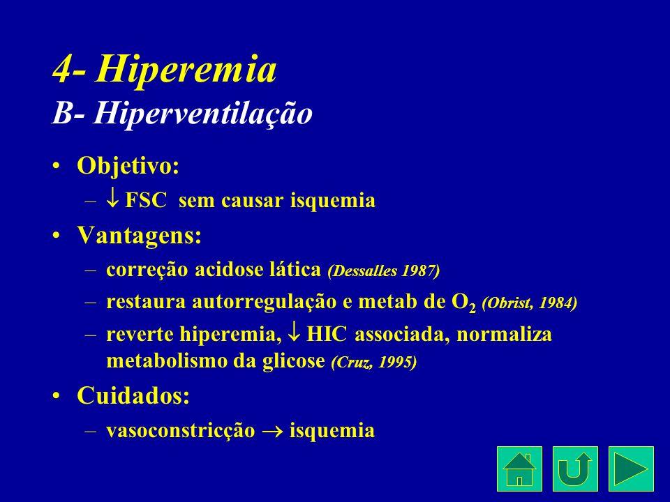 4- Hiperemia B- Hiperventilação Objetivo: – FSC sem causar isquemia Vantagens: –correção acidose lática (Dessalles 1987) –restaura autorregulação e me
