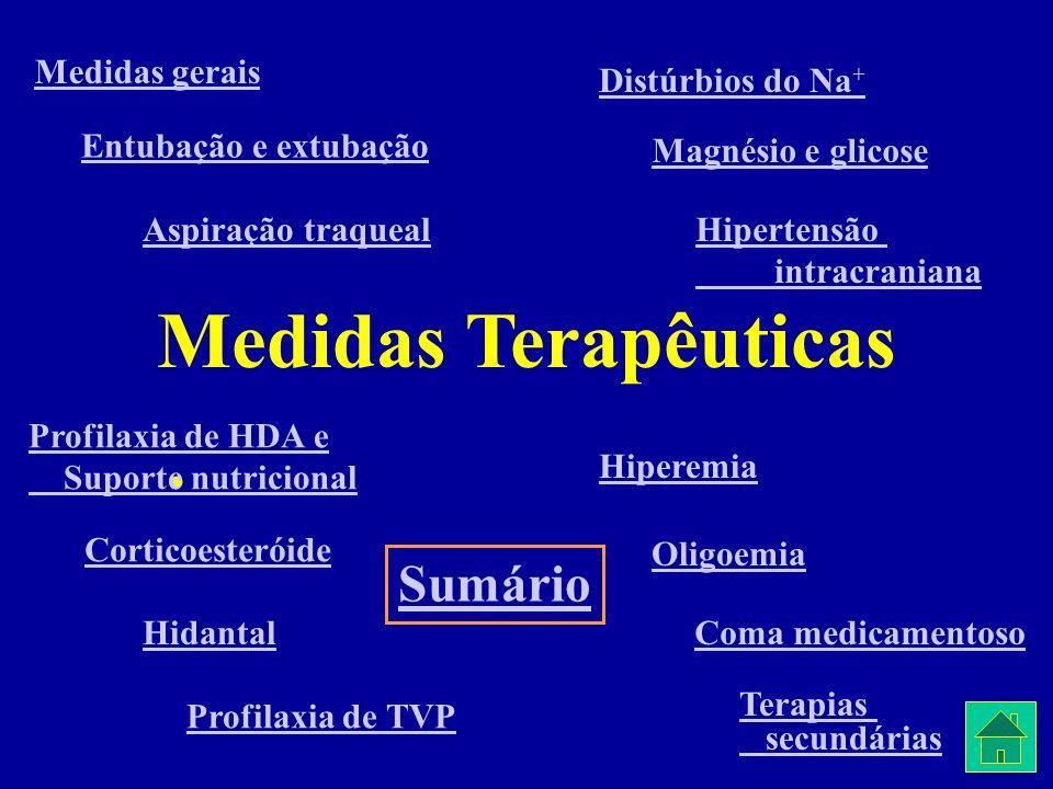 Medidas Terapêuticas Medidas gerais Entubação e extubação Aspiração traqueal Profilaxia de HDA e Suporte nutricional Corticoesteróide Hidantal Profila