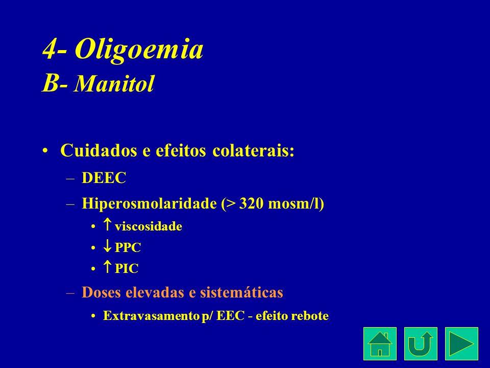 4- Oligoemia B - Manitol Cuidados e efeitos colaterais: –DEEC –Hiperosmolaridade (> 320 mosm/l) viscosidade PPC PIC –Doses elevadas e sistemáticas Ext